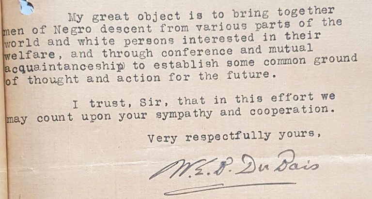 An extract of W E B Du Bois' letter to Winston Churchill from May 1921.
