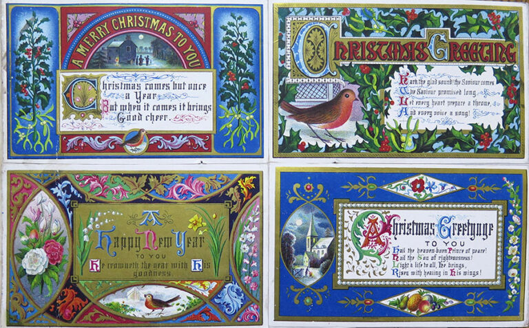 Four examples of Victorian Christmas carol cards, designed by T Sulman, registered by Benjamin Sulman in 1871.