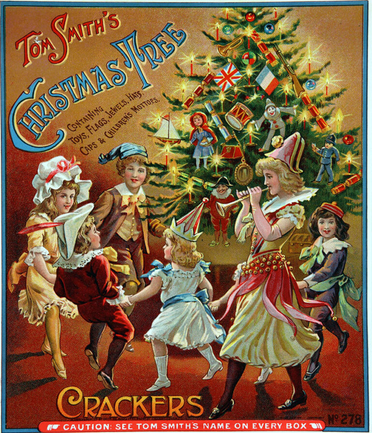 A colour advert for Tom Smith's Christmas Tree crackers, from 1907, showing a group of children dancing around a Christmas tree that's decorated with lights and ornaments.