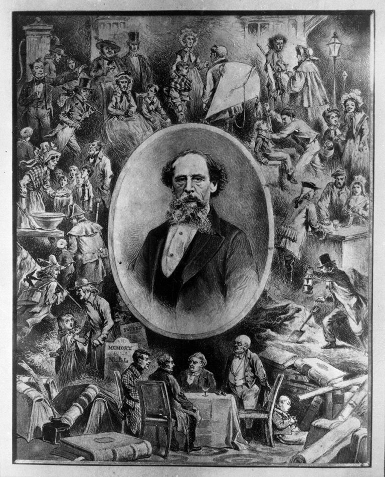 'Scenes from Dickens surrounding an oval bearing portrait of Charles Dickens', designed by Reverend Charles Steele, registered by Stanley Arthur Ingram, 1911.