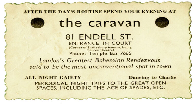 Card of The Caravan Club, 1934. The tagline reads 'after the day's routine spend your evening at The Caravan Club'.