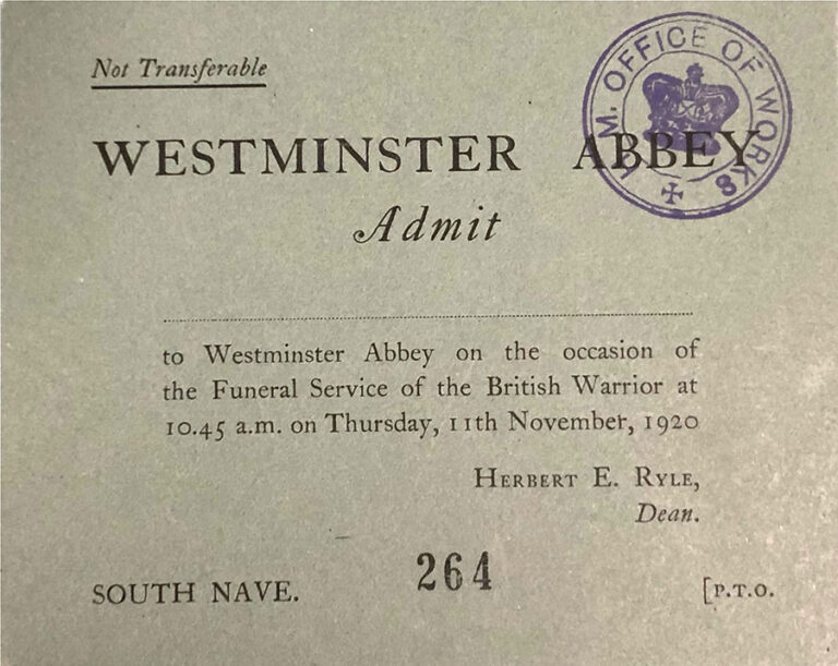 Admission ticket for Westminster Abbey service.