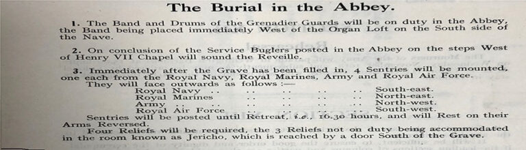 Details of the burial ceremony at Westminster Abbey.