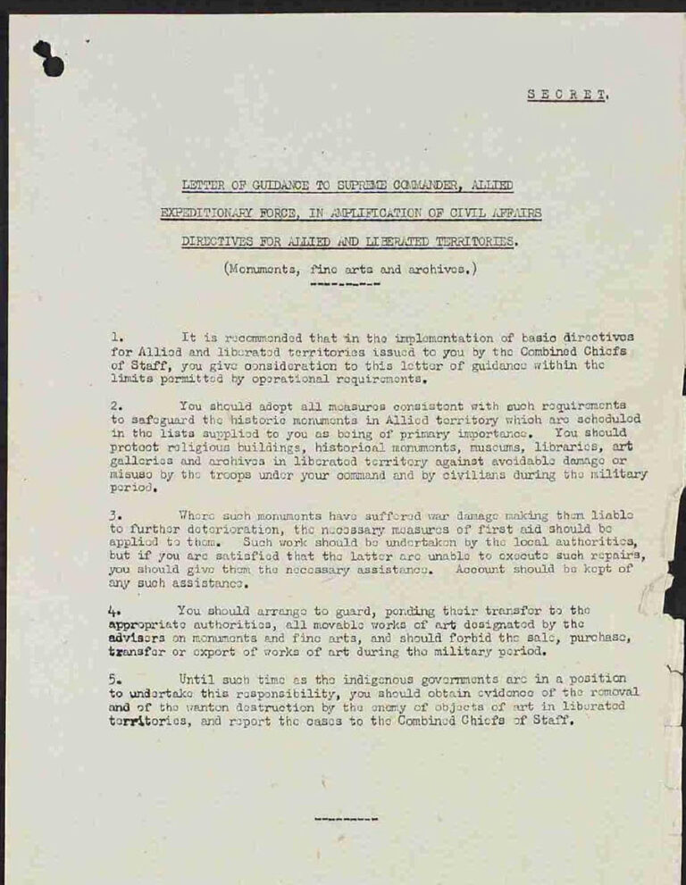 The heading of this typed letter reads Letter of guidance to Supreme Commander, Allied Expeditionary Force in Amplification of Civil Affairs Directives for Allied and Liberated Territories (Monuments, fine arts and archives).