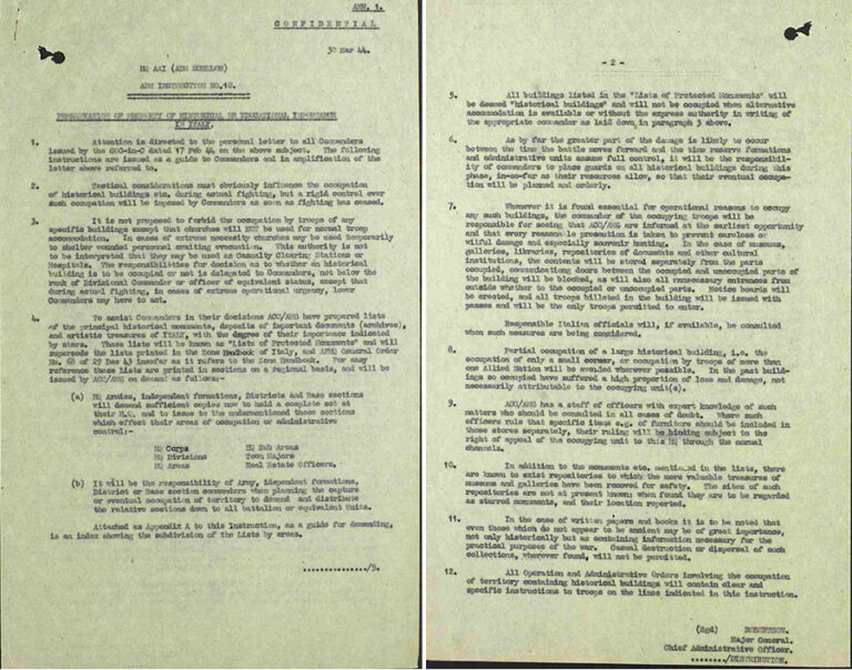 Two-paged typed document titled AAI Administrative Instruction No 10, dated 30 March 1944.