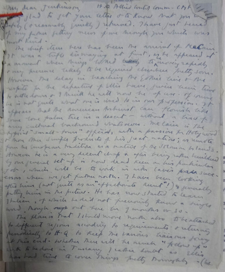 Extract from a written letter from Humphrey Brooke to Hilary Jenkinson, dated September 1944
