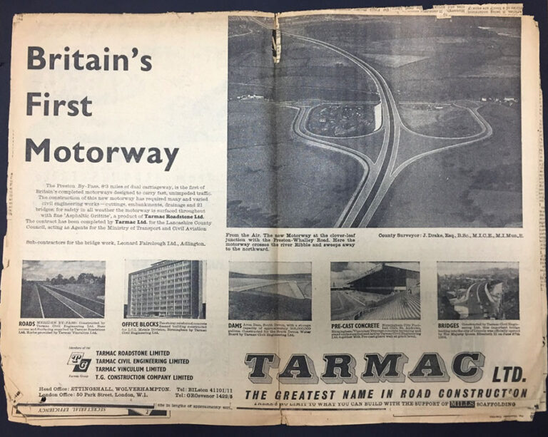 Image of a newspaper advertisement by Tarmac Ltd about Britain's first motorway, the Preston bypass. The advertisement shows six aerial views of the bypass.
