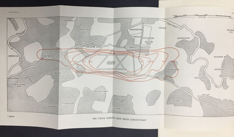 Diagram representing noise zones around London Airport in 1960, published in the final report of the Committee on the Problem of Noise, 1963. Catalogue ref: MH 146/285.