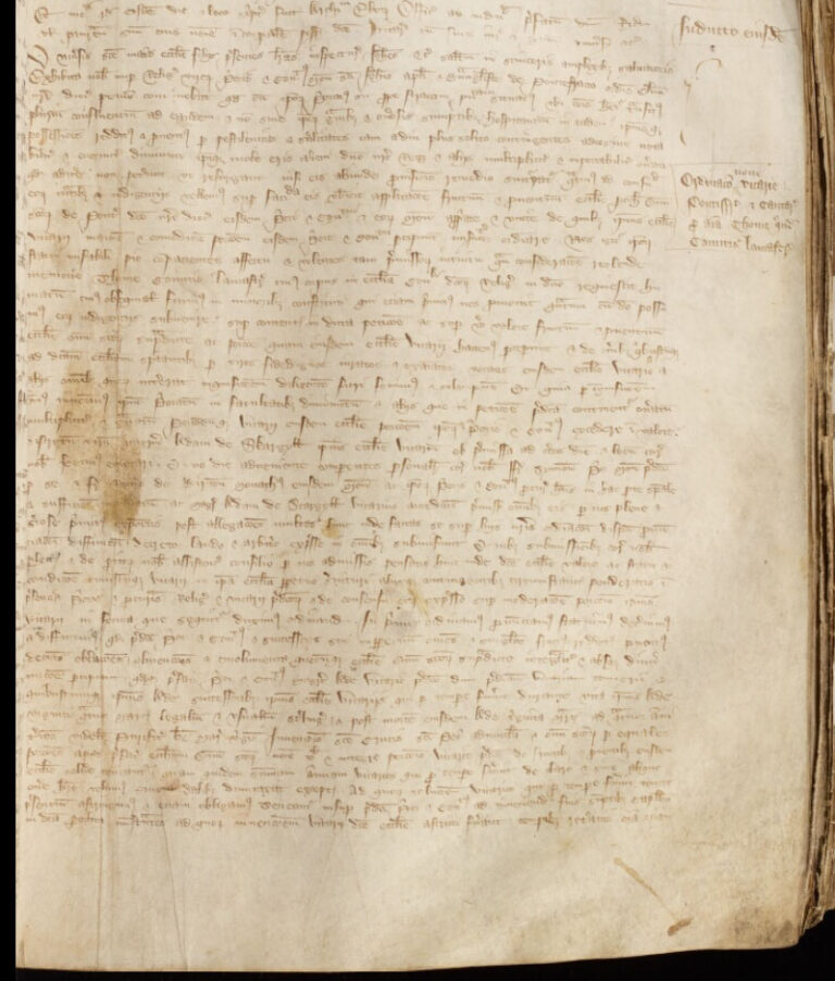 Extract from the document for the Ordination of the vicarage of Pontefract, 1361 – Register of Archbishop John Thoresby: York, Borthwick Institute for Archives.
