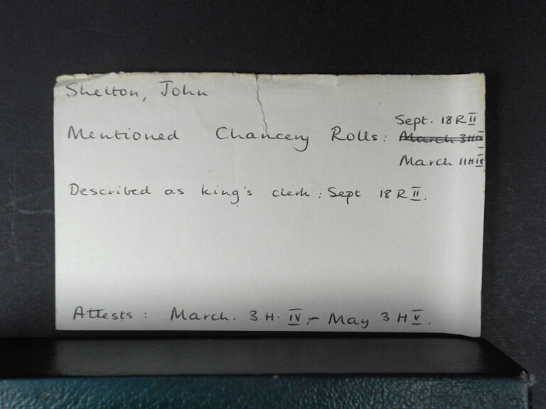 Chancery card for John Shelton.