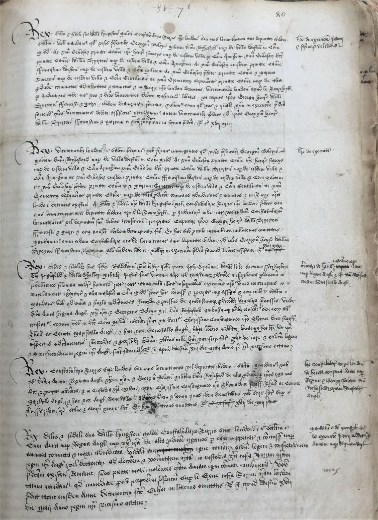 Writs related to the execution of Anne Boleyn and her co-accused in the clerk of the crown's Precedent book.