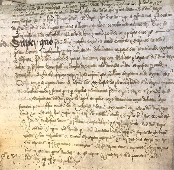 The section of the KB 8/9 trial papers recording the sentence against George Boleyn. The symbols in the bottom left margin indicate hanging and quartering. The text states in detail that he was to be taken from the Tower through London to Tyburn and there hanged, disembowelled, beheaded and his body cut into four pieces – his head and quarters to be sent wherever the king assigned or wished.