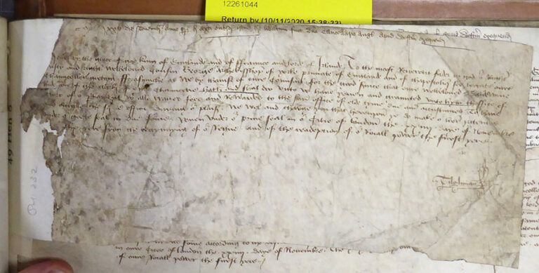 Writ of privy seal, appointing Baldwin Hyde as clerk of the Readeption Parliaments on 24 November 1470.