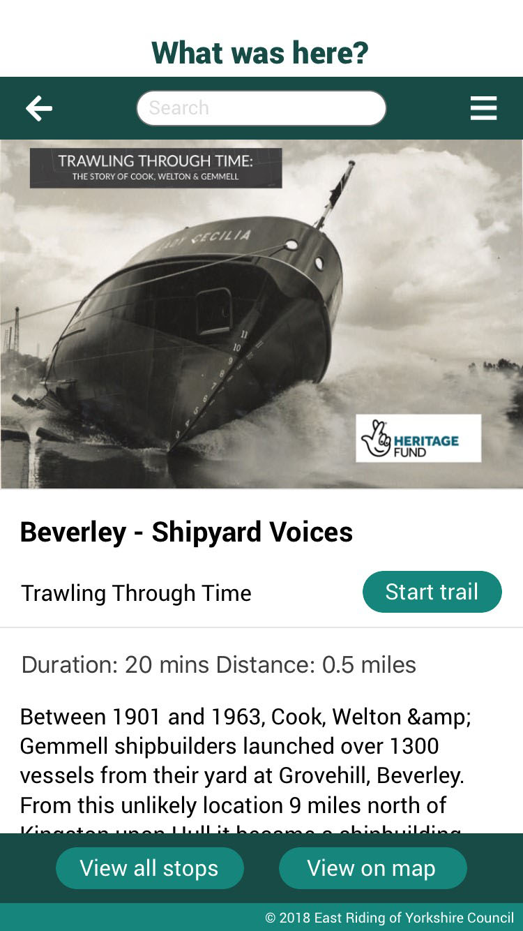 Screenshot of Beverly Shipyard Voices with heading Trawling through Time.