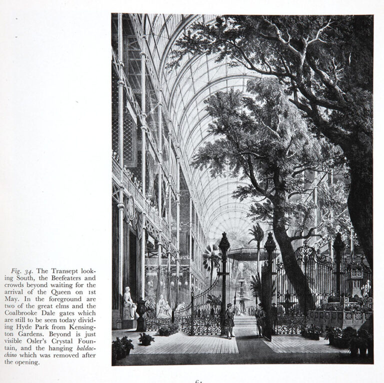 Page from a commemorative album of the Great Exhibition of 1851, compiled by C H Gibbs-Smith, 1950. The image shows the inside of the Crystal Palace, a great space large enough to accommodate tall trees and fountains.