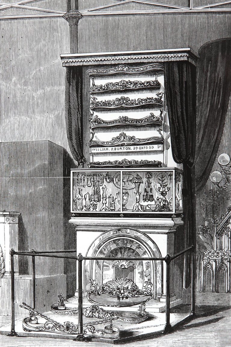An exhibit - an ornate cast-iron work - by W S Burton of Oxford Street at the Great Exhibition of 1851.