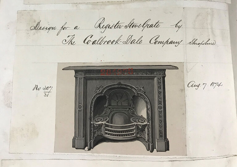Design for a register stove grate, The Coalbrookdale Company, Shropshire, 7 August 1874.
