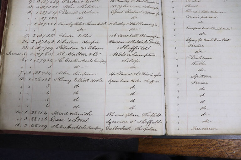 Registration book, showing registration for a firescreen by The Coalbrookdale Company, 16 June 1845.