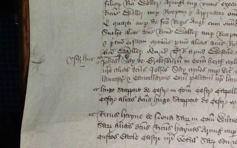 Note of the changeover of the keeper of the hanaper on the pardon roll for 1470-71.