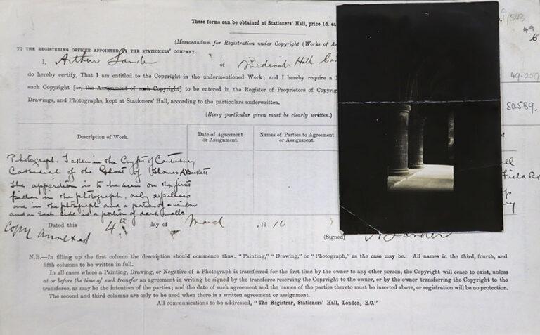 Copyright registration form filed by Arthur Lander, 4 March 1910.