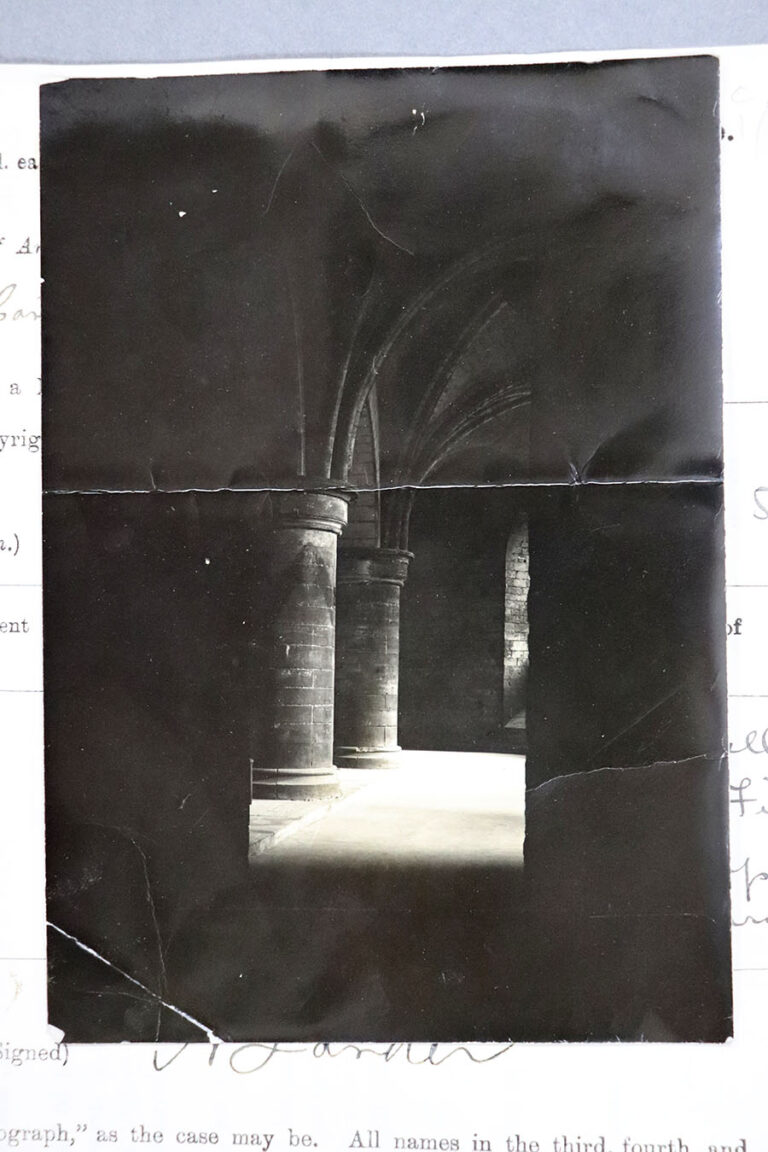 Photograph taken in the crypt of Canterbury Cathedral of the 'ghost' of Thomas Becket.