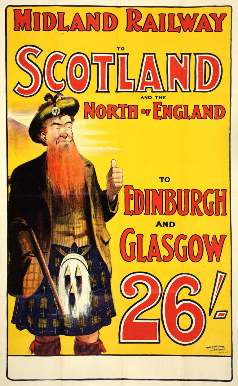 Midland Railway poster: 'To Scotland and the North of England' featuring a ginger-haired Scotsman wearing a kilt.