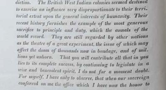Extract of Elgin's speech to Jamaica legislature, 25 October 1842.