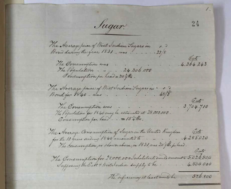 Russell's handwritten calculations on the costs of West Indian free labour sugar.