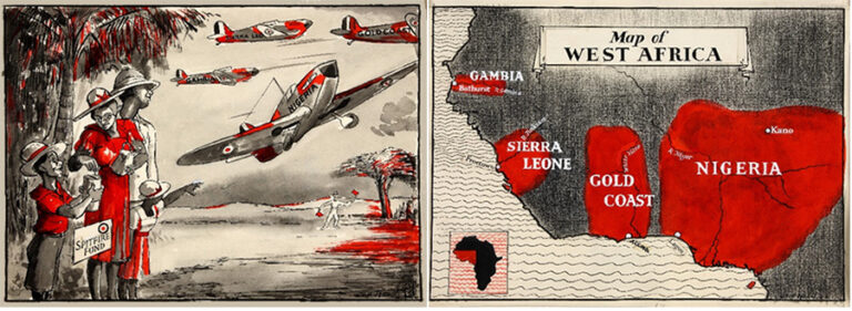 On the left a painting of a family watching Spitfire planes flying in the air, and on the right a map of West Africa highlighting the countries Gambia, Sierra Leone, the Gold Coast and Nigeria.
