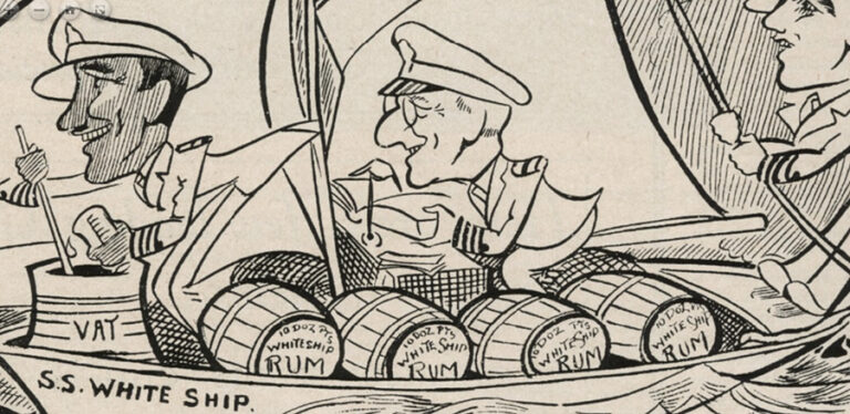 A cartoon from Planters Punch 1930 Volume 2 Number 4, p.42 showing three men in a boat called SS White Ship laden with rum.