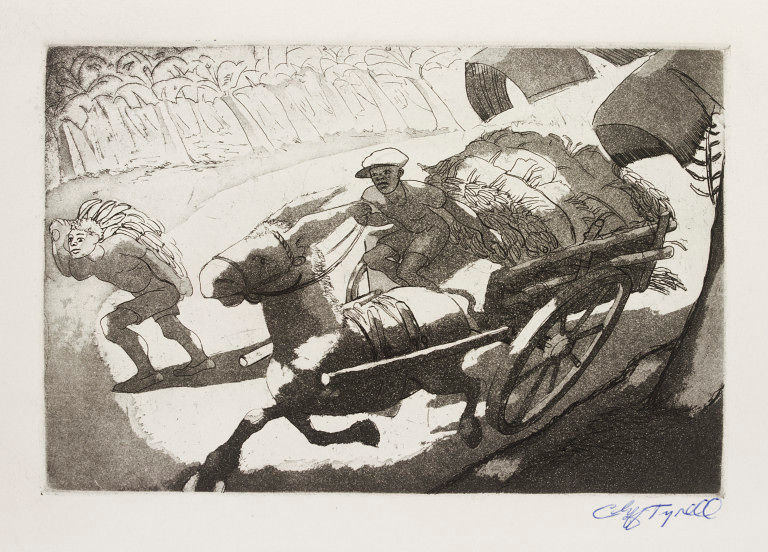 Painting from the 1930s of a young West Indian man driving a horse-drawn banana cart.