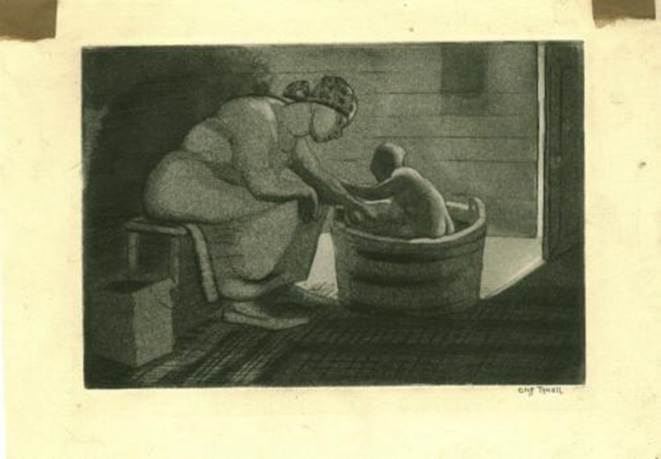 Painting of a mother bathing a baby in a wooden tub.