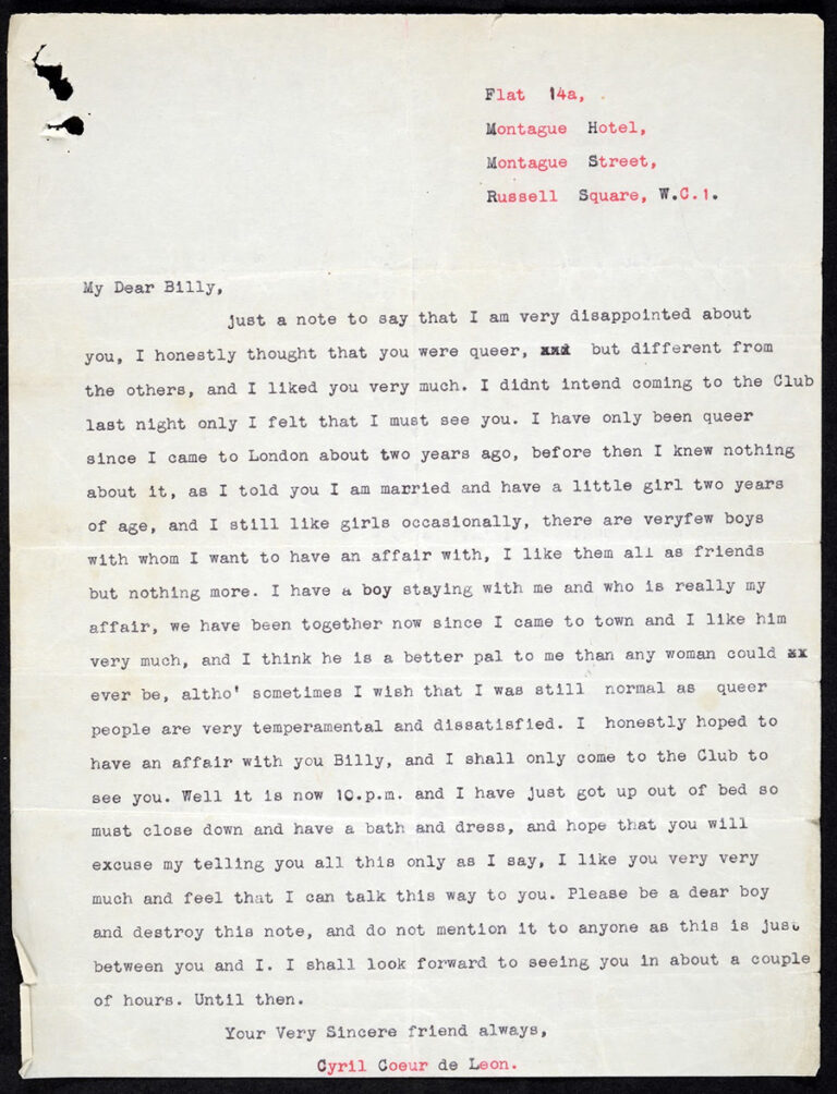 One-page letter written by Cyril Coeur de Leon to 'My Dear Billy' in 1934.