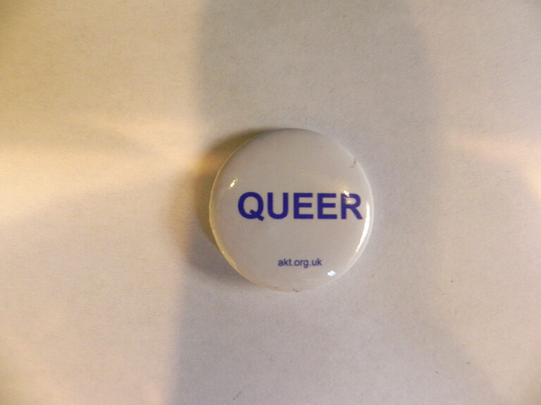 A pin badge with blue wording on a white background that says 'Queer'.