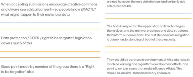 Some of responses given to the second set of questions. An example comment includes 'When accepting submissions encourage creative commons and always use ethical consent - so people know exactly what might happen to their materials/data'.