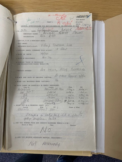 Bader's liberation questionnaire completed on 18 April 1945.