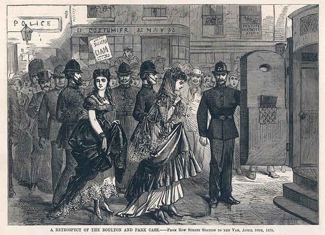 An illustration from the Illustrated Police News showing Fanny and Stella leaving Bow Magistrates Court on 9 April 1870. It shows a small crowd and a number of policemen escorting Fanny and Stella.