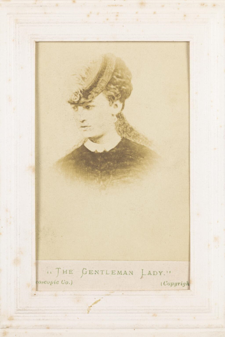 A photograph taken in 1871 of 'The Gentleman Lady', Ernest Boulton in drag, mistaken for Frederick Park.