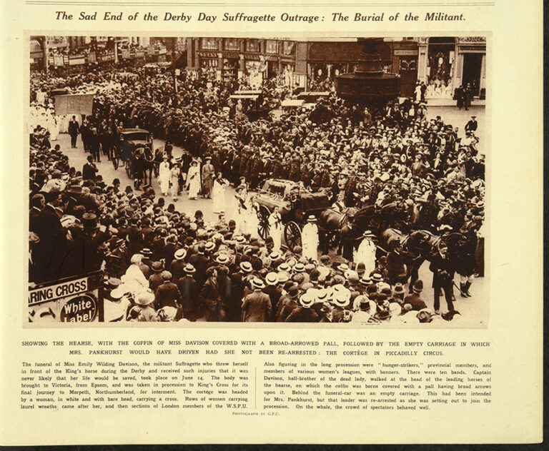 Extract from a story in the newspaper about the funeral of Emily Wilding Davison with a headline that reads 'The Sad End of the Derby Day Suffragette Outrage: The Burial of the Militant'. The photograph shows a large crowd of spectators as the funeral cortege and the procession of suffragette mourners passes by.