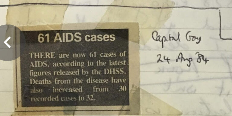 Newspaper cutting in a Switchboard logbook detailing early AIDS statistics in the UK. The headline reads 61 AIDS cases.