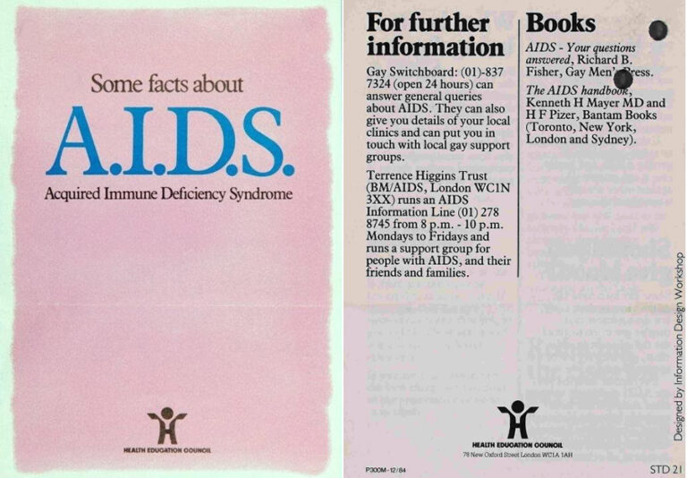 The front cover of a booklet produced by the Health Education Council in 1985. Adjacent is a page with details of how to contact the Terrence Higgins Trust and Gay Switchboard.
