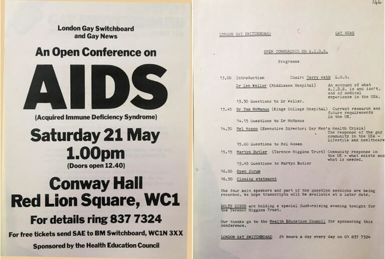 The front of a pamphlet and a page detailing the order of the day's events for 'An Open Conference on AIDS' organised by London Gay Switchboard and Gay News. The conference took place on Saturday 21 May at Conway Hall in Red Lion Square in London.