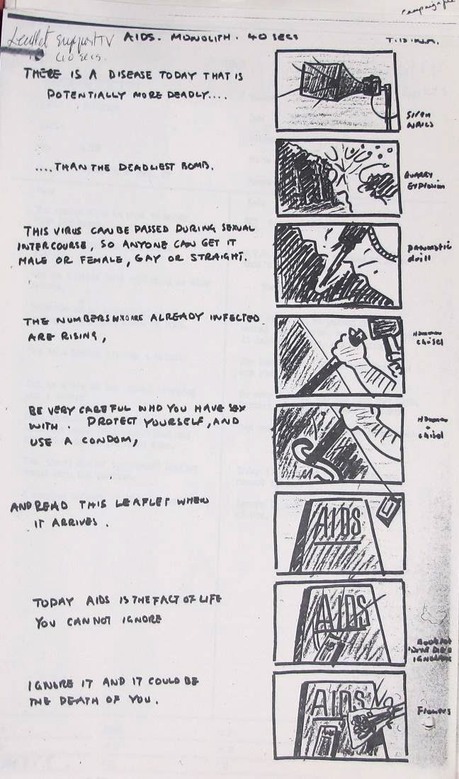 Working storyboard for the televised AIDS advert by TBWA agency.