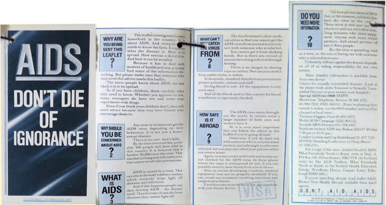 'AIDS: Don't Die of Ignorance' leaflet. Note the contact details on the reverse, including the number for London Lesbian and Gay Switchboard.