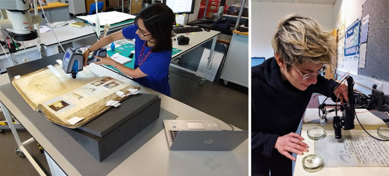 Senior Conservation Scientist, Lucia Pereira Pardo (left) and Head of Conservation: Research and Audience Development, Lora Angelova (right) using scientific instrumentation to analyse collection items at The National Archives.