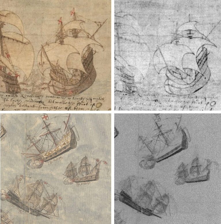 Examples of underdrawings found in The National Archives' Tudor map collection using multi-spectral imaging. On the left are images and on the right are infrared images that show underdrawings and pementi.