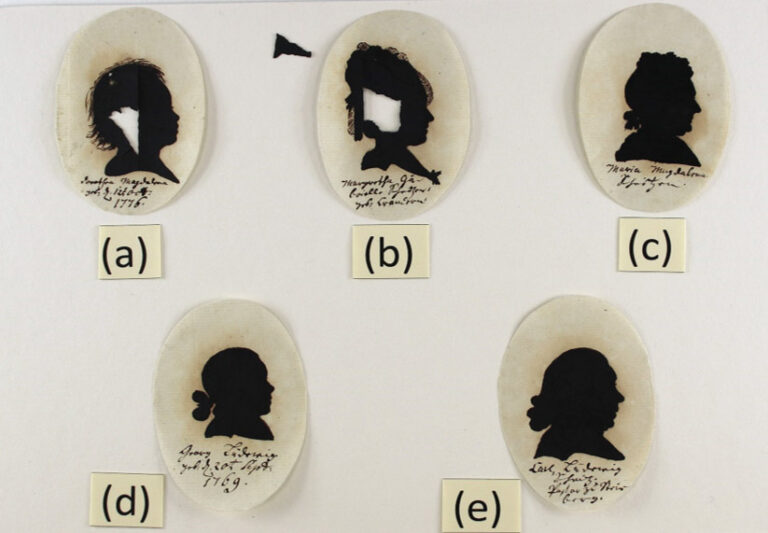 Extremely fragile miniature silhouette portraits drawn in iron gall ink dating from 1780.