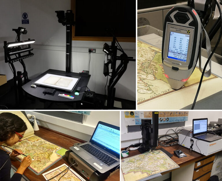 Multiple imaging and spot-analysis techniques used in combination for the non-invasive analysis of the maps: multi-spectral imaging, X-ray fluorescence, fibre-optics reflectance and Raman spectroscopy.