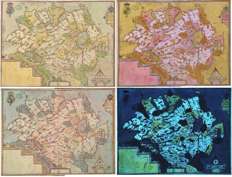 Set of multi-spectral images of one of Richard Bartlett's map of Ulster: visible, ultraviolet false colour, infrared false colour and ultraviolet luminescence.