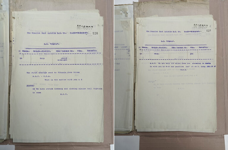 Documents from MT 9/920/C, office copies of telegrams received by the SS Birma from the Titanic. As discussed in Emilie's video, the copies were created using crystal violet ink, an early synthetic dye that is extremely light sensitive.